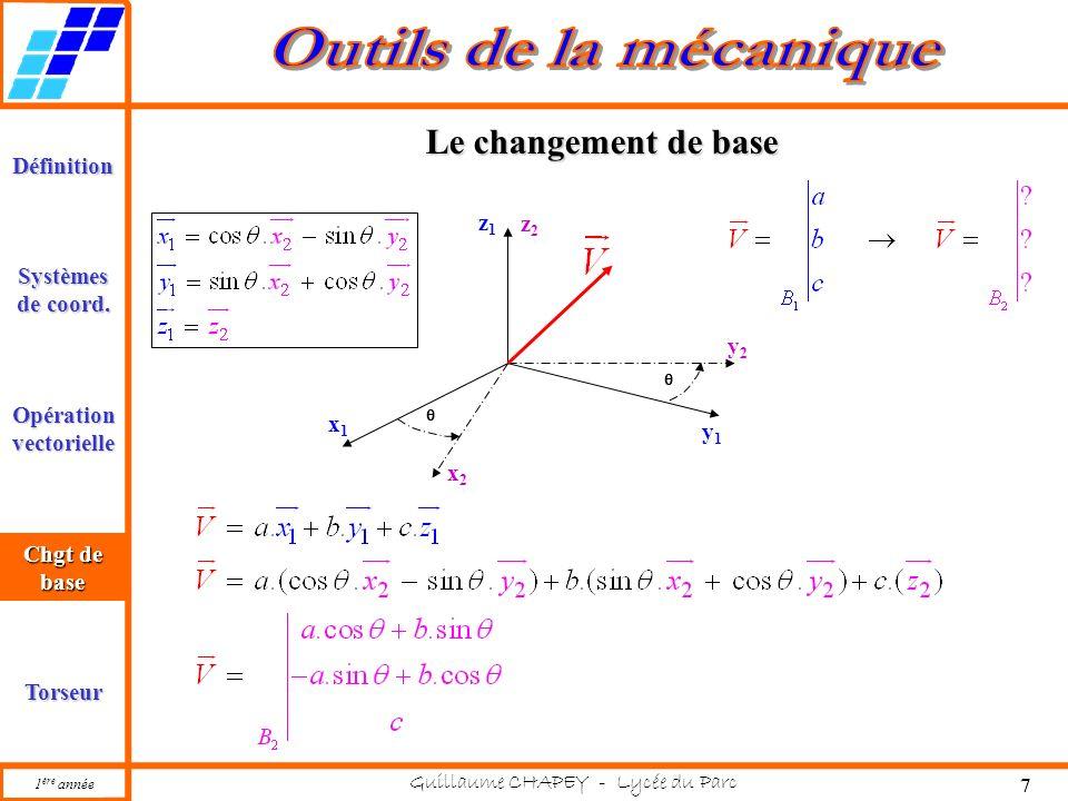 1 ère année Guillaume CHAPEY - Lycée du Parc 7 Définition Opération vectorielle Torseur Chgt de base Systèmes de coord. Chgt de base Le changement de