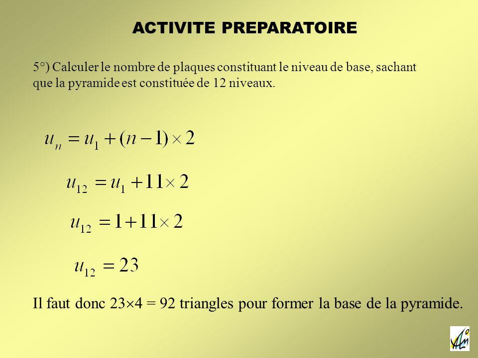 5°) Calculer le nombre de plaques constituant le niveau de base, sachant que la pyramide est constituée de 12 niveaux.