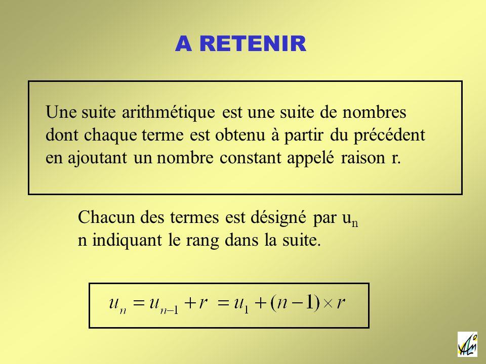 A RETENIR Une suite arithmétique est une suite de nombres dont chaque terme est obtenu à partir du précédent en ajoutant un nombre constant appelé raison r.
