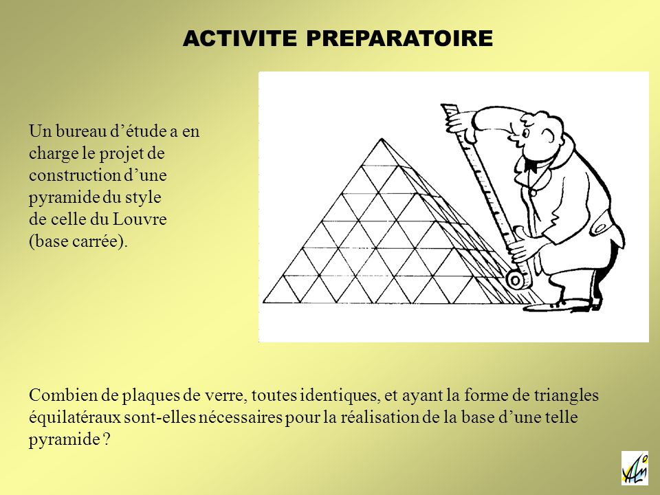 Un bureau détude a en charge le projet de construction dune pyramide du style de celle du Louvre (base carrée). Combien de plaques de verre, toutes id