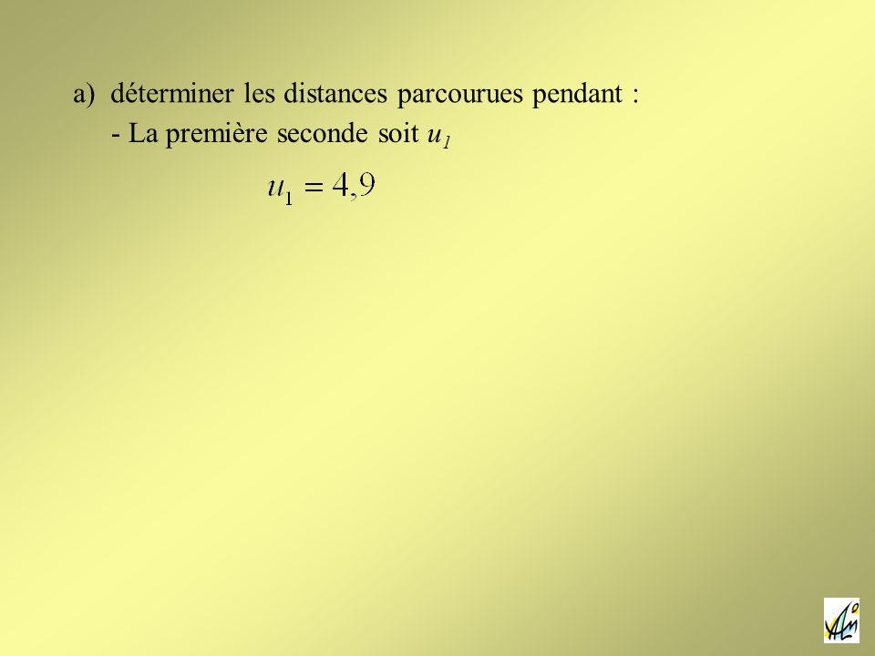 a) déterminer les distances parcourues pendant : - La première seconde soit u 1