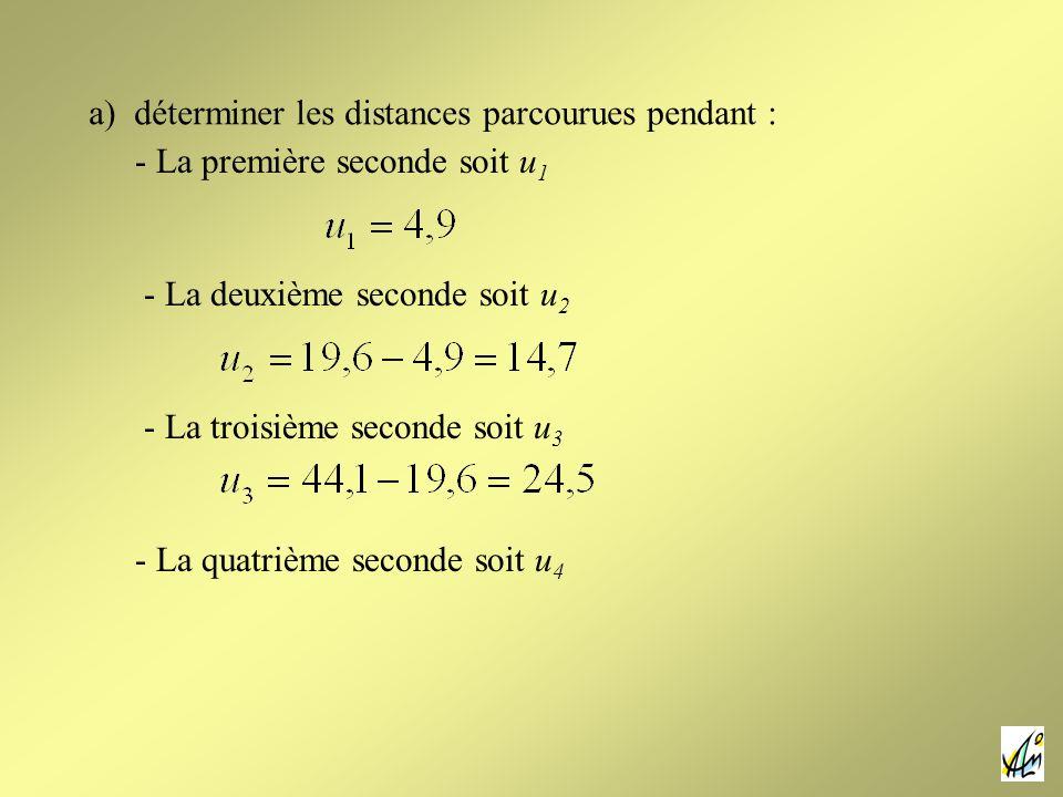 a) déterminer les distances parcourues pendant : - La première seconde soit u 1 - La quatrième seconde soit u 4 - La deuxième seconde soit u 2 - La tr