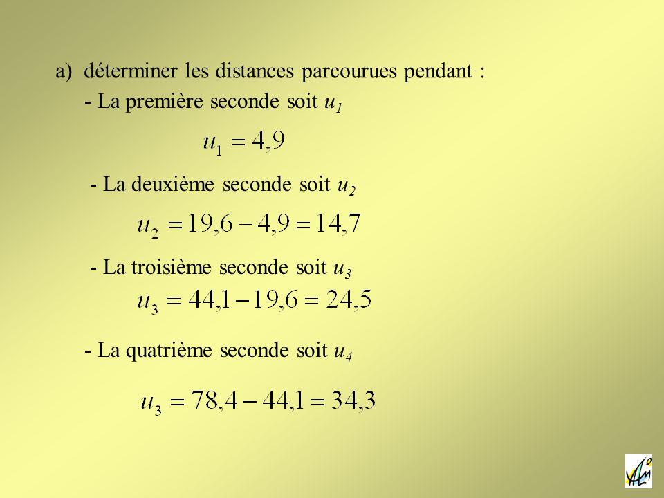 a) déterminer les distances parcourues pendant : - La première seconde soit u 1 - La quatrième seconde soit u 4 - La deuxième seconde soit u 2 - La troisième seconde soit u 3