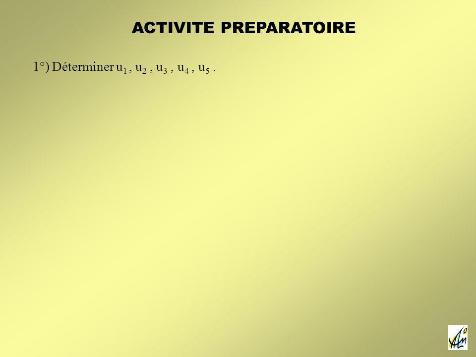 1°) Déterminer u 1, u 2, u 3, u 4, u 5. ACTIVITE PREPARATOIRE