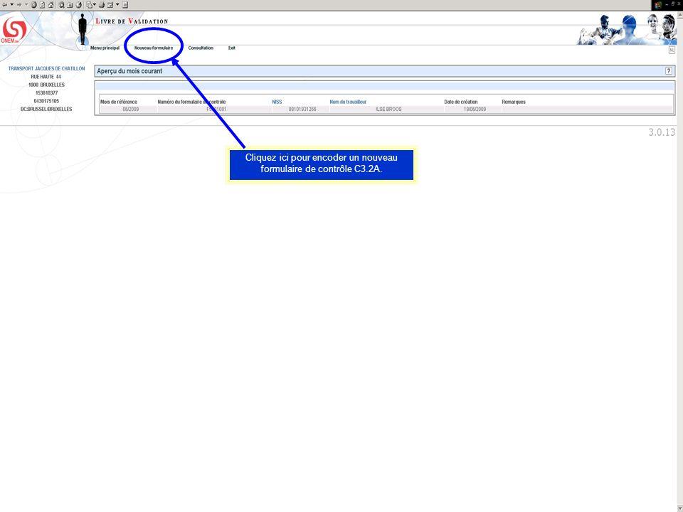 Cliquez ici pour encoder un nouveau formulaire de contrôle C3.2A.