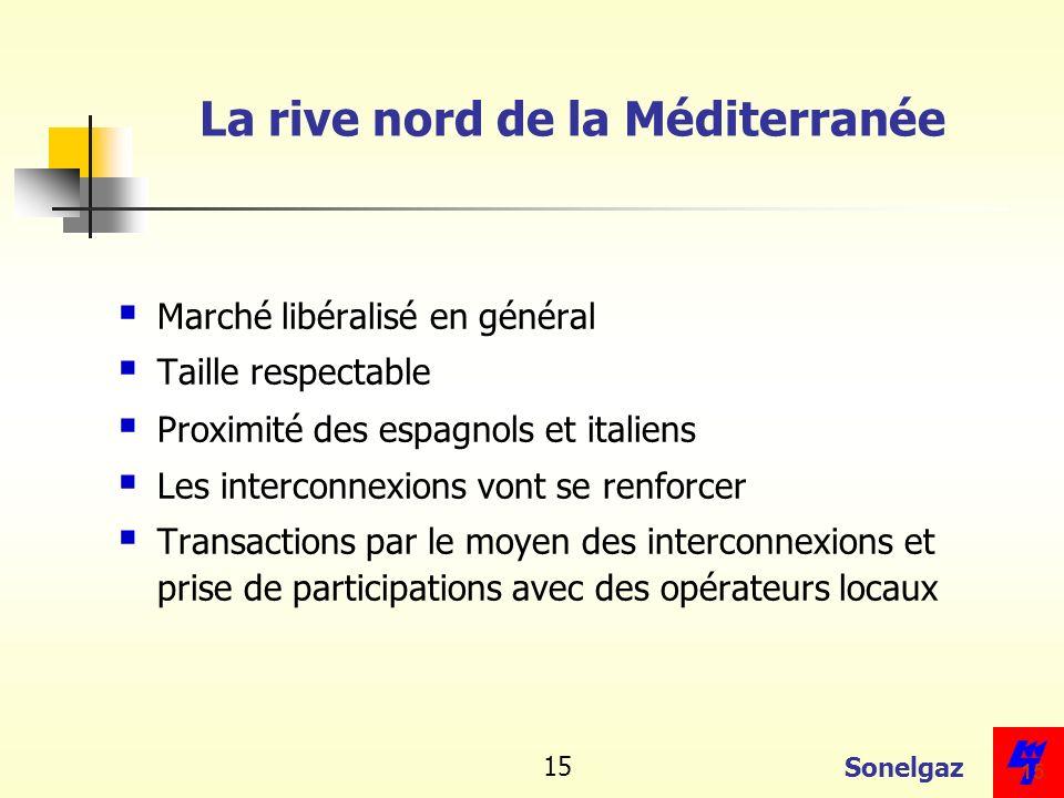 Sonelgaz 15 La rive nord de la Méditerranée Marché libéralisé en général Taille respectable Proximité des espagnols et italiens Les interconnexions vo