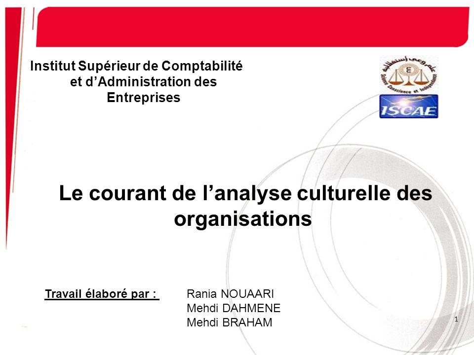 Institut Supérieur de Comptabilité et dAdministration des Entreprises 1 Le courant de lanalyse culturelle des organisations Travail élaboré par : Rani