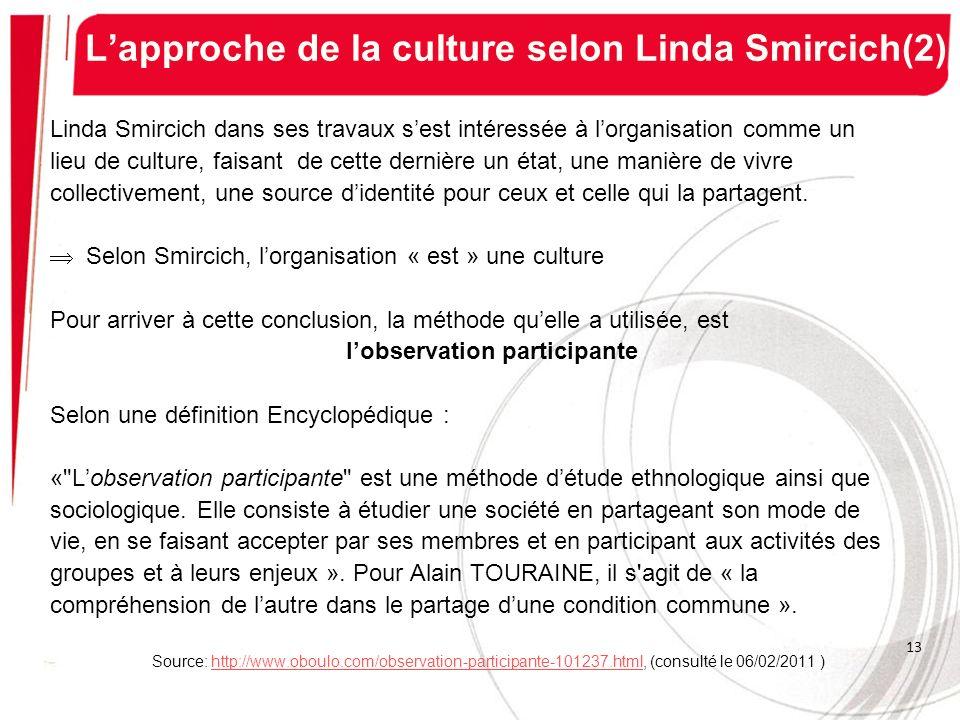 Lapproche de la culture selon Linda Smircich(2) Linda Smircich dans ses travaux sest intéressée à lorganisation comme un lieu de culture, faisant de c