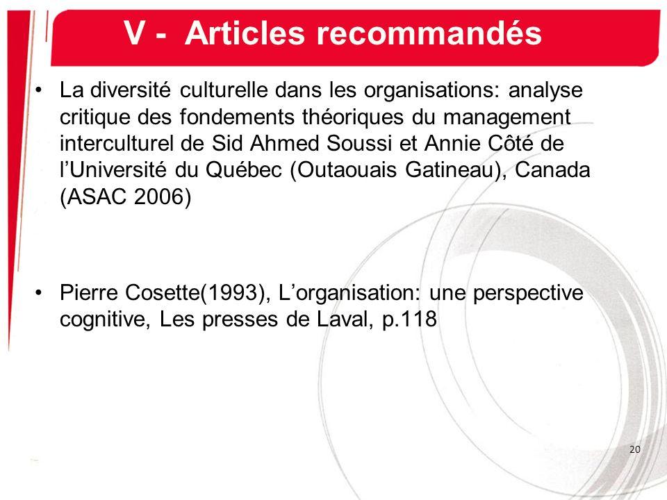 V - Articles recommandés La diversité culturelle dans les organisations: analyse critique des fondements théoriques du management interculturel de Sid