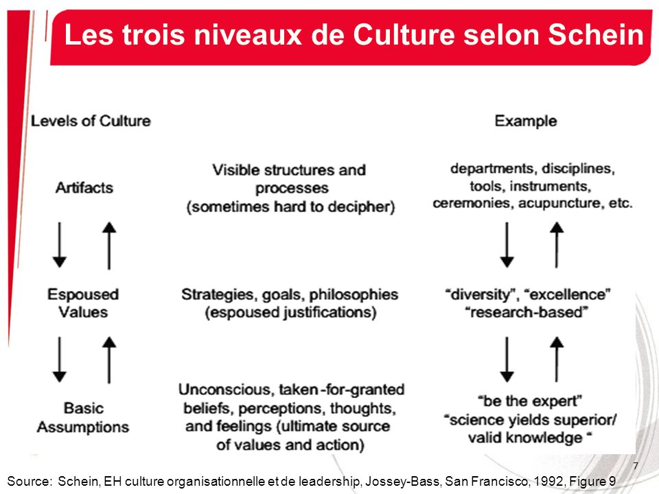 Les trois niveaux de Culture selon Schein Source: Schein, EH culture organisationnelle et de leadership, Jossey-Bass, San Francisco, 1992, Figure 9 7