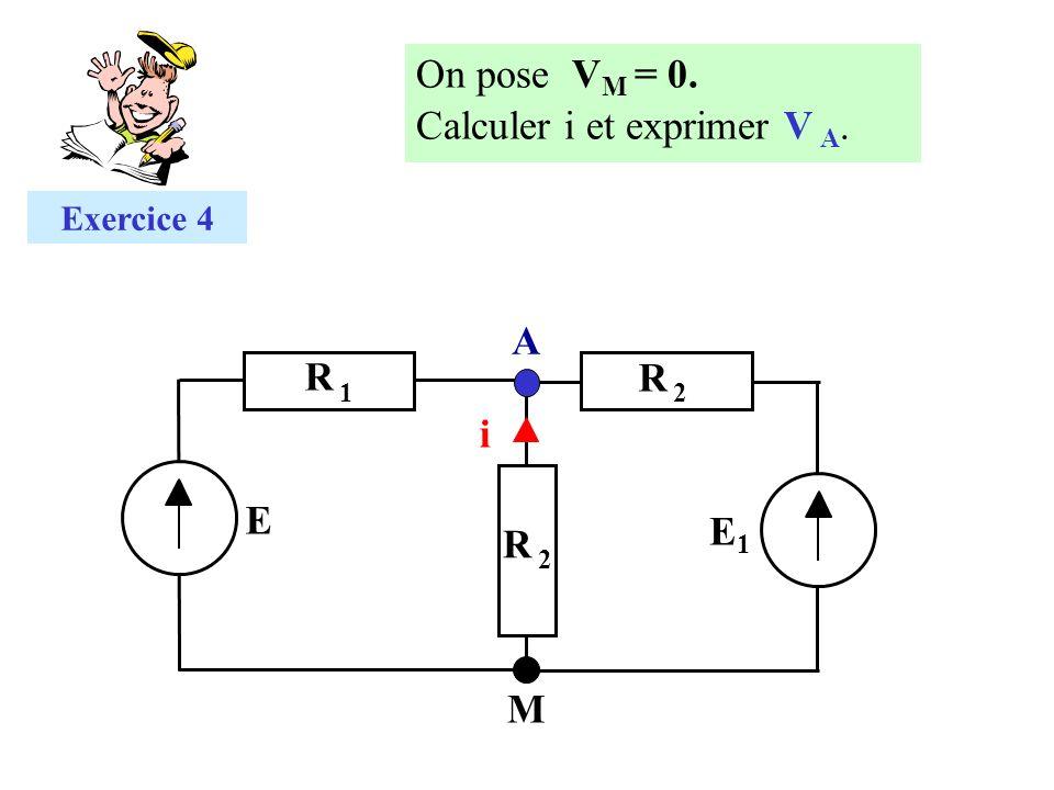 i R 2R 2 A M E Exercice 4 E1E1 R 2R 2 R 1R 1 On pose V M = 0. Calculer i et exprimer V A.