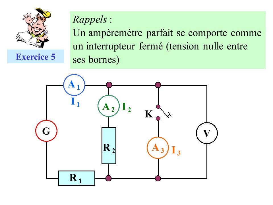 A 1A 1 G V I 1I 1 A 2A 2 I 2I 2 I 3I 3 A 3A 3 R 2R 2 R 1R 1 K Exercice 5 Rappels : Un ampèremètre parfait se comporte comme un interrupteur fermé (ten