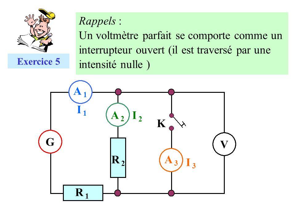 A 1A 1 G V I 1I 1 A 2A 2 I 2I 2 I 3I 3 A 3A 3 R 2R 2 R 1R 1 K Exercice 5 Rappels : Un voltmètre parfait se comporte comme un interrupteur ouvert (il e