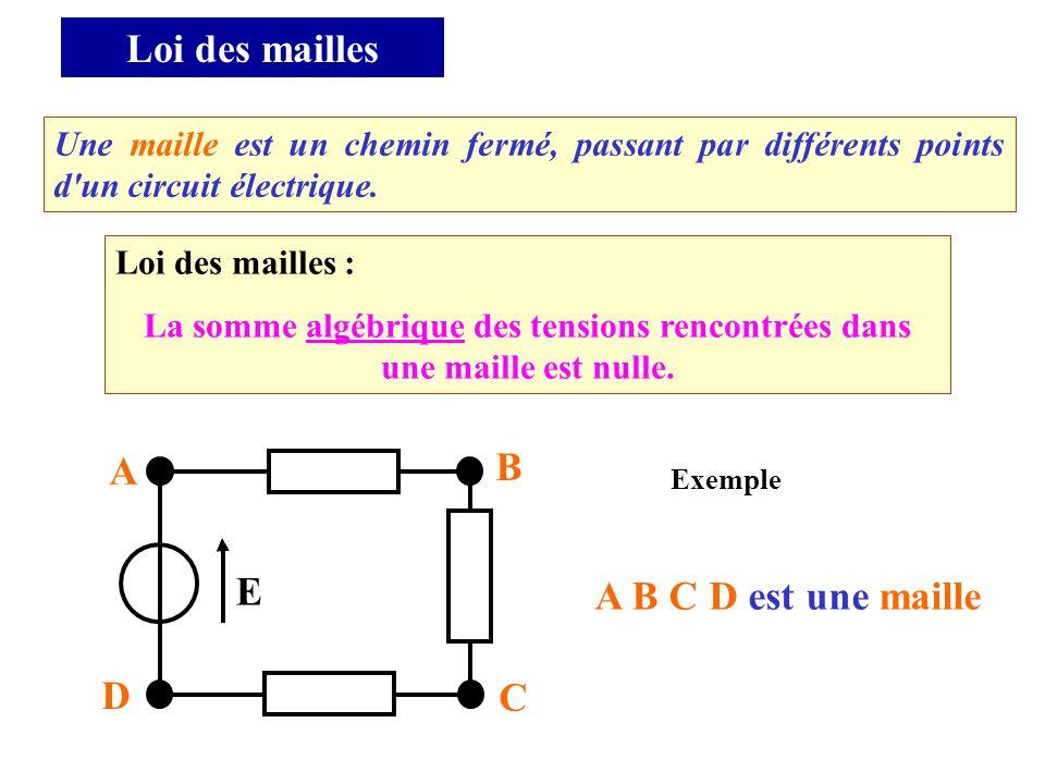 Loi des mailles : La somme algébrique des tensions rencontrées dans une maille est nulle. Une maille est un chemin fermé, passant par différents point