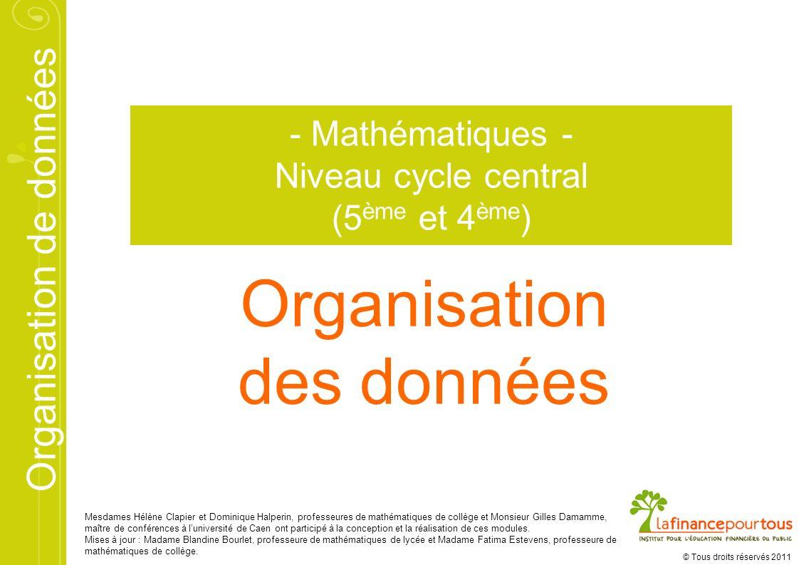 Organisation de données © Tous droits réservés 2011 Organisation des données - Mathématiques - Niveau cycle central (5 ème et 4 ème ) Mesdames Hélène