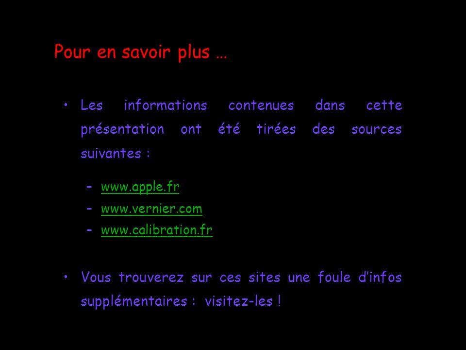 Pour en savoir plus … Les informations contenues dans cette présentation ont été tirées des sources suivantes : –www.apple.frwww.apple.fr –www.vernier
