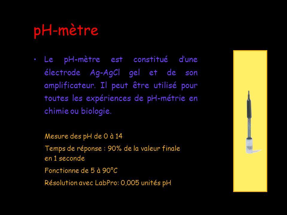 Protocole expérimental Brancher linterface LabPro sur le secteur par lintermédiaire de son cordon/transformateur dalimentation Connecter le pH-mètre sur linterface LabPro Connecter linterface LabPro sur le port USB de lordinateur Lancer le logiciel LoggerPro