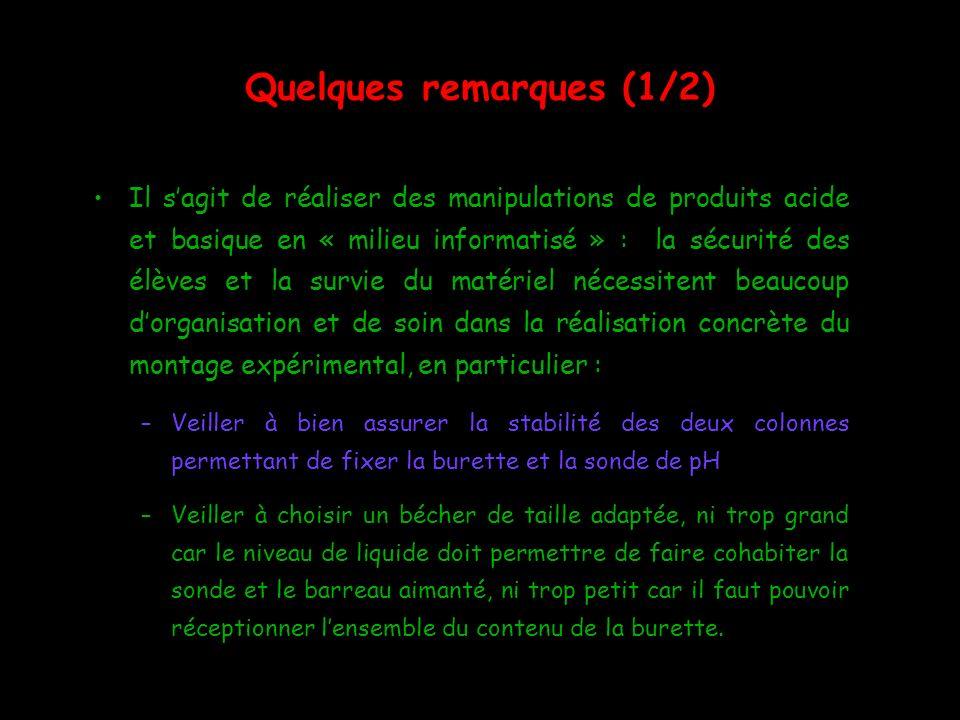Quelques remarques (1/2) Il sagit de réaliser des manipulations de produits acide et basique en « milieu informatisé » : la sécurité des élèves et la