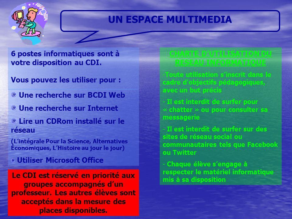 UN ESPACE MULTIMEDIA Une recherche sur BCDI Web Une recherche sur Internet Lire un CDRom installé sur le réseau (Lintégrale Pour la Science, Alternati