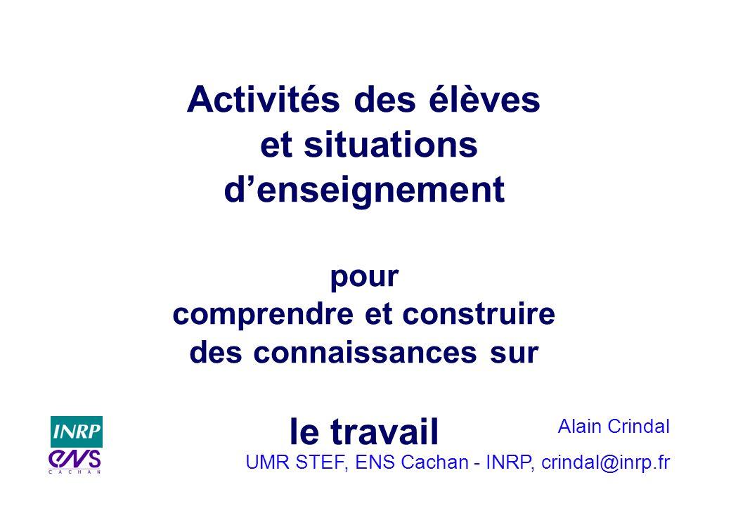 Alain Crindal UMR STEF, ENS Cachan - INRP, crindal@inrp.fr Activités des élèves et situations denseignement pour comprendre et construire des connaiss