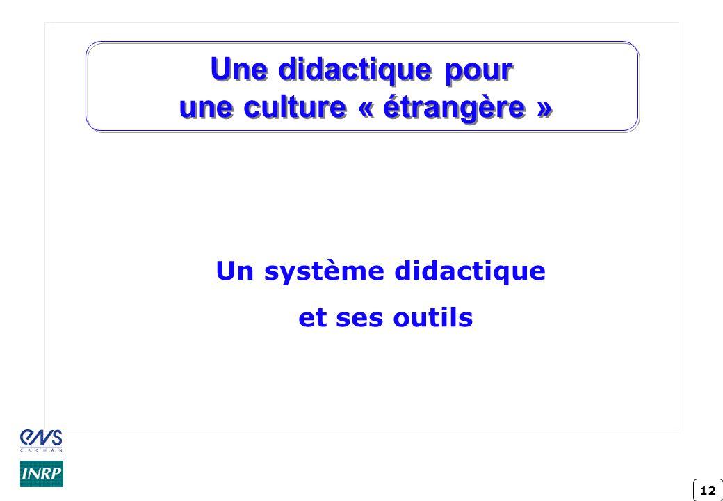 12 Une didactique pour une culture « étrangère » Un système didactique et ses outils