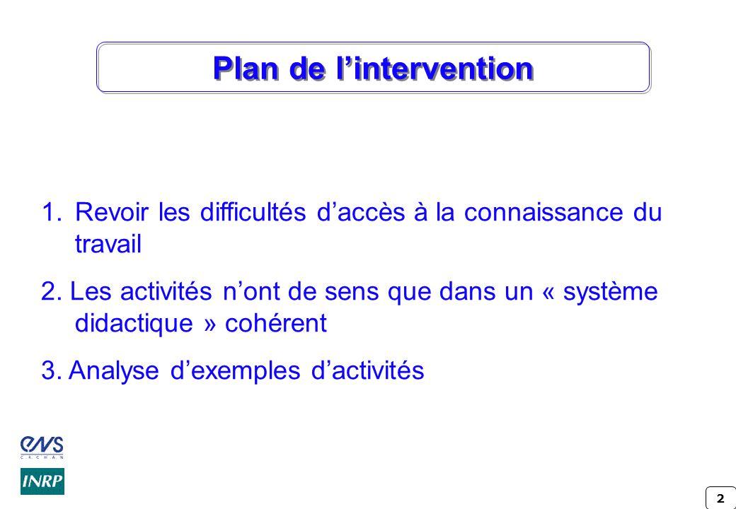 2 Plan de lintervention 1.Revoir les difficultés daccès à la connaissance du travail 2. Les activités nont de sens que dans un « système didactique »