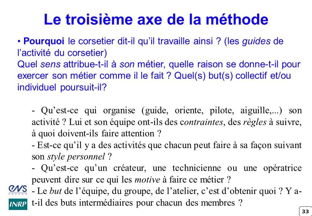 33 Le troisième axe de la méthode Pourquoi le corsetier dit-il quil travaille ainsi ? (les guides de lactivité du corsetier) Quel sens attribue-t-il à