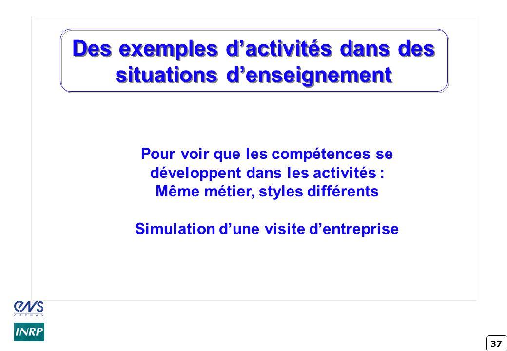 37 Des exemples dactivités dans des situations denseignement Pour voir que les compétences se développent dans les activités : Même métier, styles dif