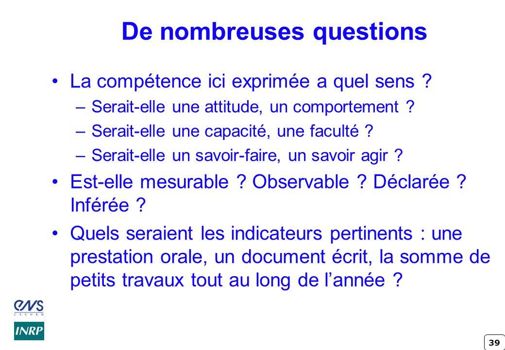 39 De nombreuses questions La compétence ici exprimée a quel sens ? –Serait-elle une attitude, un comportement ? –Serait-elle une capacité, une facult