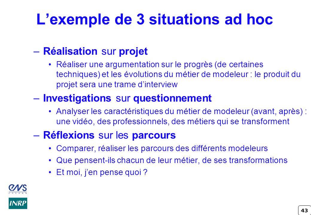 43 Lexemple de 3 situations ad hoc –Réalisation sur projet Réaliser une argumentation sur le progrès (de certaines techniques) et les évolutions du mé