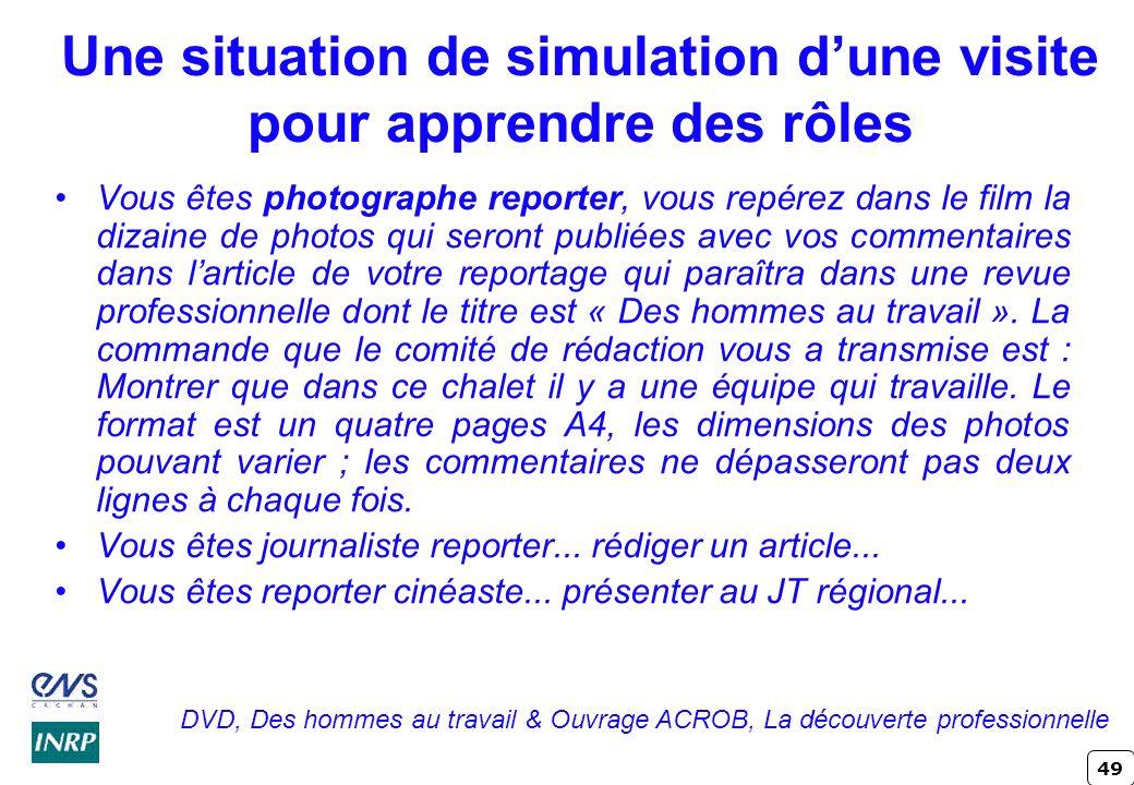 49 Une situation de simulation dune visite pour apprendre des rôles Vous êtes photographe reporter, vous repérez dans le film la dizaine de photos qui