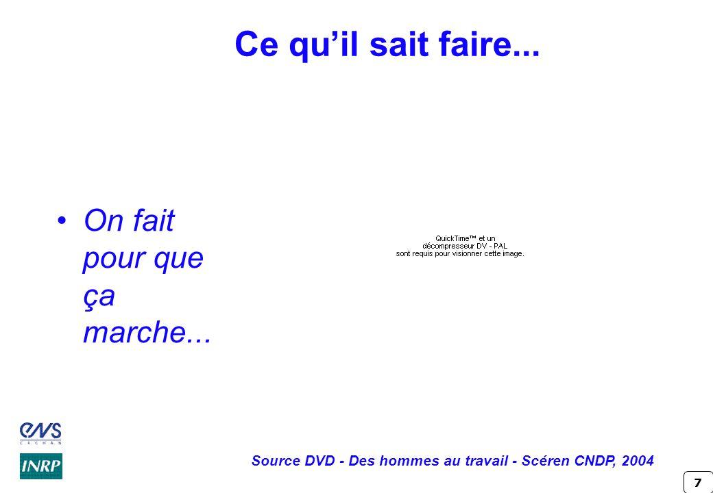 7 Ce quil sait faire... On fait pour que ça marche... Source DVD - Des hommes au travail - Scéren CNDP, 2004
