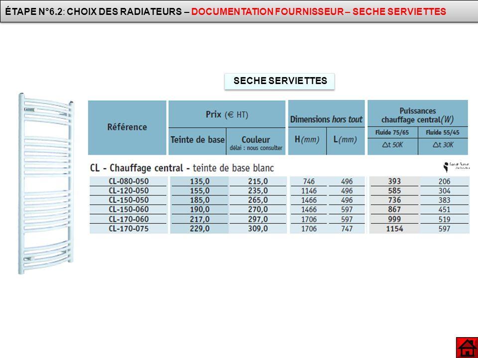 SECHE SERVIETTES ÉTAPE N°6.2: CHOIX DES RADIATEURS – DOCUMENTATION FOURNISSEUR – SECHE SERVIETTES