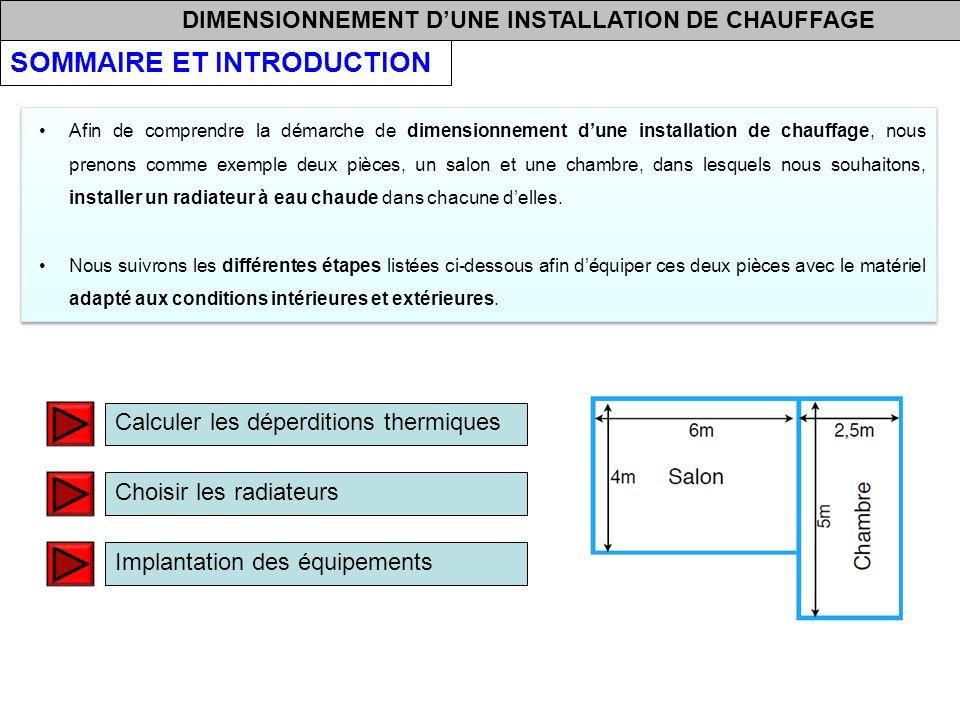 DIMENSIONNEMENT DUNE INSTALLATION DE CHAUFFAGE Calculer les déperditions thermiques Choisir les radiateurs Implantation des équipements Afin de compre