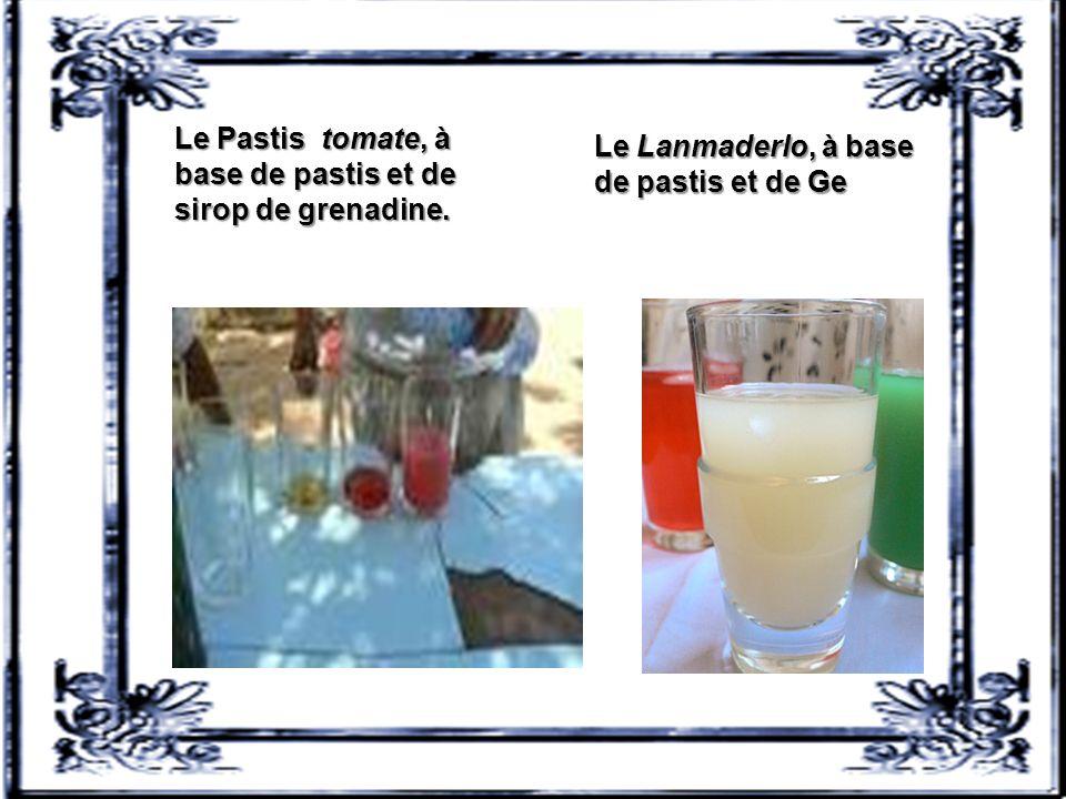 La Mauresque (ou moresque), à base de pastis et de sirop d'orgeat (appelée aussi « EPO » : eau, pastis, orgeat). Dans un verre à pastis: