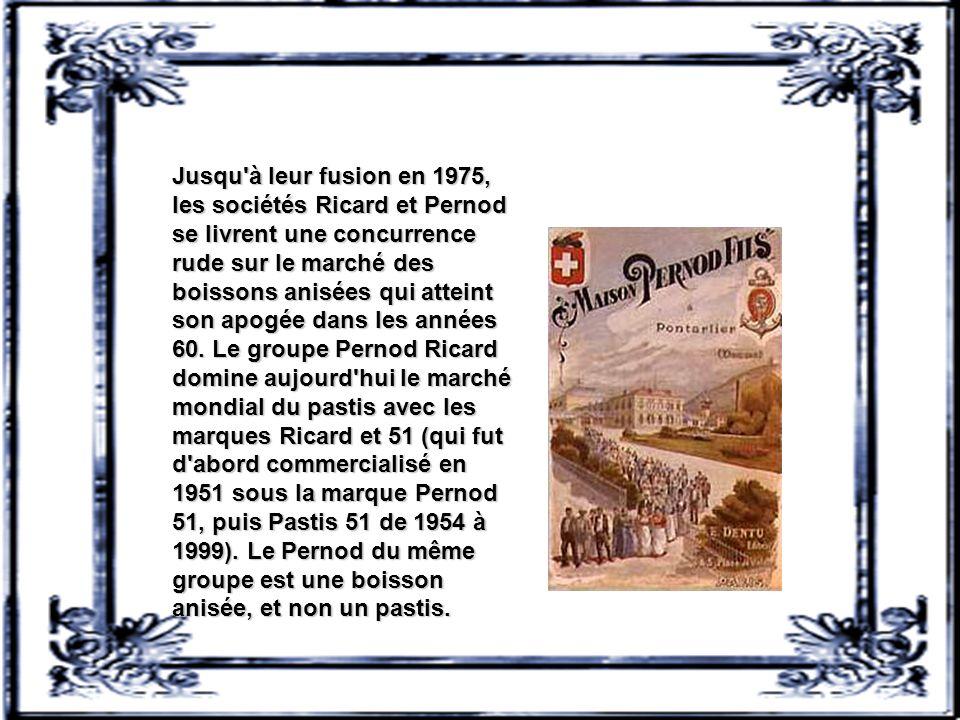 Paul Ricard fait preuve d'innovation en élaborant une recette incluant de l'anis étoilé, de l'anis vert et de la réglisse. Son slogan, « Ricard, le vr