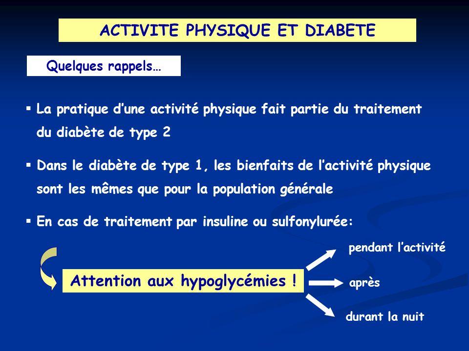ACTIVITE PHYSIQUE ET DIABETE Quelques rappels… La pratique dune activité physique fait partie du traitement du diabète de type 2 Dans le diabète de ty