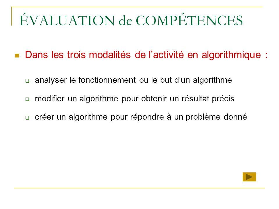 ÉVALUATION de COMPÉTENCES Dans les trois modalités de lactivité en algorithmique : analyser le fonctionnement ou le but dun algorithme modifier un alg