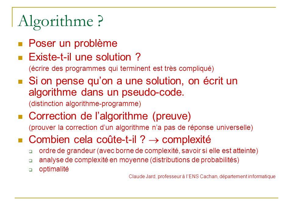 Algorithme ? Poser un problème Existe-t-il une solution ? (écrire des programmes qui terminent est très compliqué) Si on pense quon a une solution, on