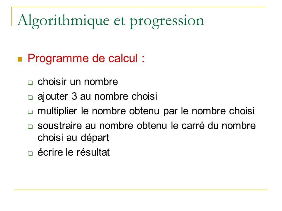 Algorithmique et progression Programme de calcul : choisir un nombre ajouter 3 au nombre choisi multiplier le nombre obtenu par le nombre choisi soust