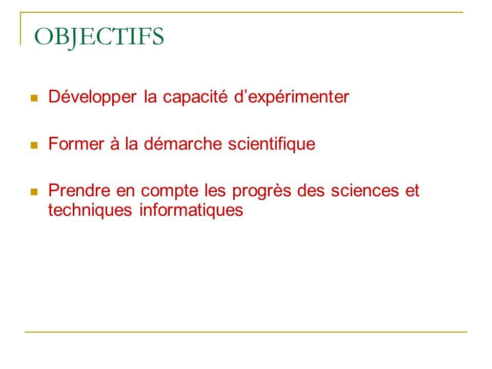 OBJECTIFS Développer la capacité dexpérimenter Former à la démarche scientifique Prendre en compte les progrès des sciences et techniques informatique