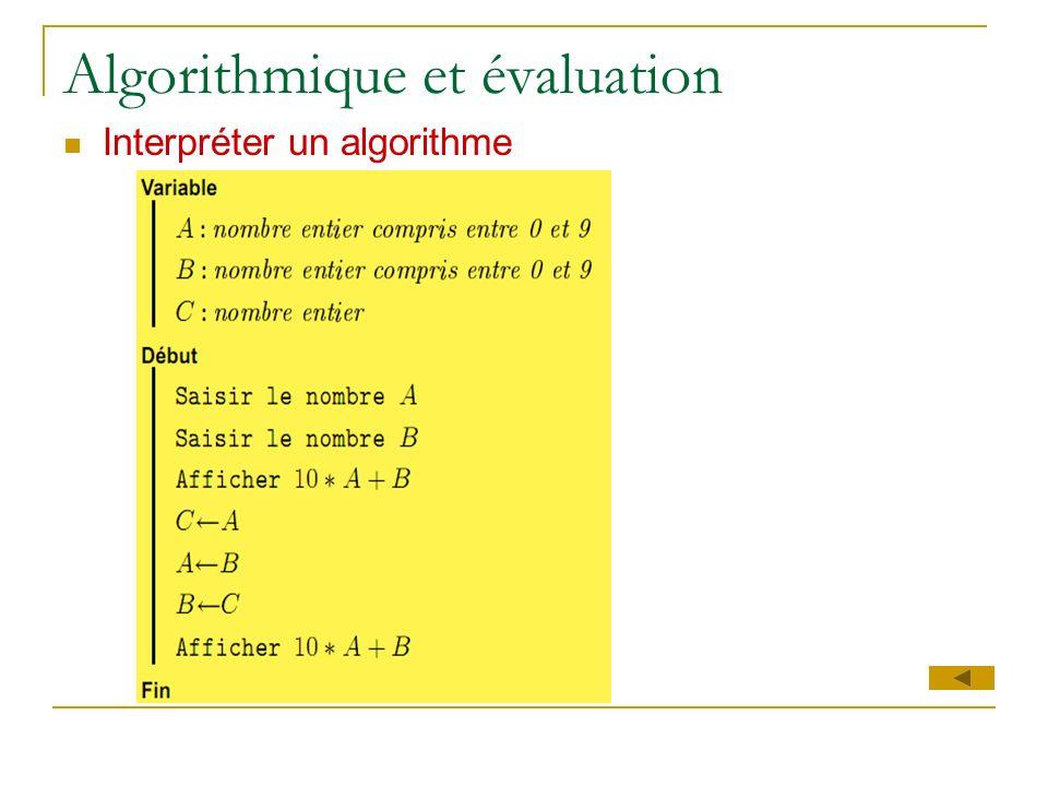 Algorithmique et évaluation Interpréter un algorithme