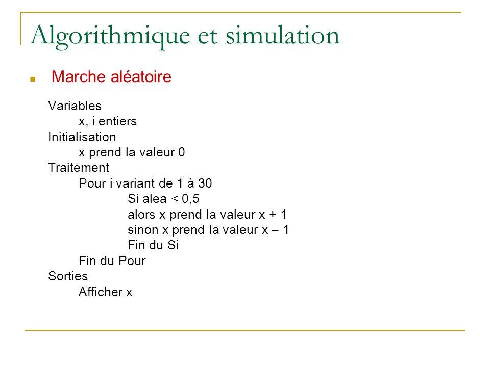 Algorithmique et simulation Marche aléatoire Variables x, i entiers Initialisation x prend la valeur 0 Traitement Pour i variant de 1 à 30 Si alea < 0