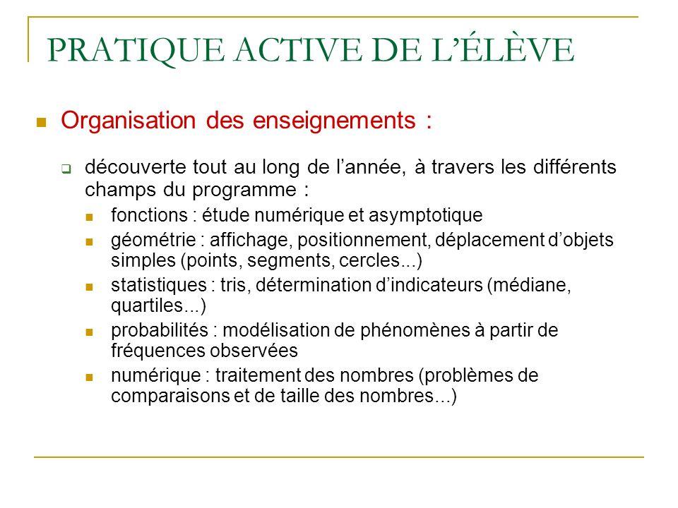 PRATIQUE ACTIVE DE LÉLÈVE Organisation des enseignements : découverte tout au long de lannée, à travers les différents champs du programme : fonctions