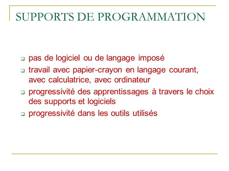 SUPPORTS DE PROGRAMMATION pas de logiciel ou de langage imposé travail avec papier-crayon en langage courant, avec calculatrice, avec ordinateur progr
