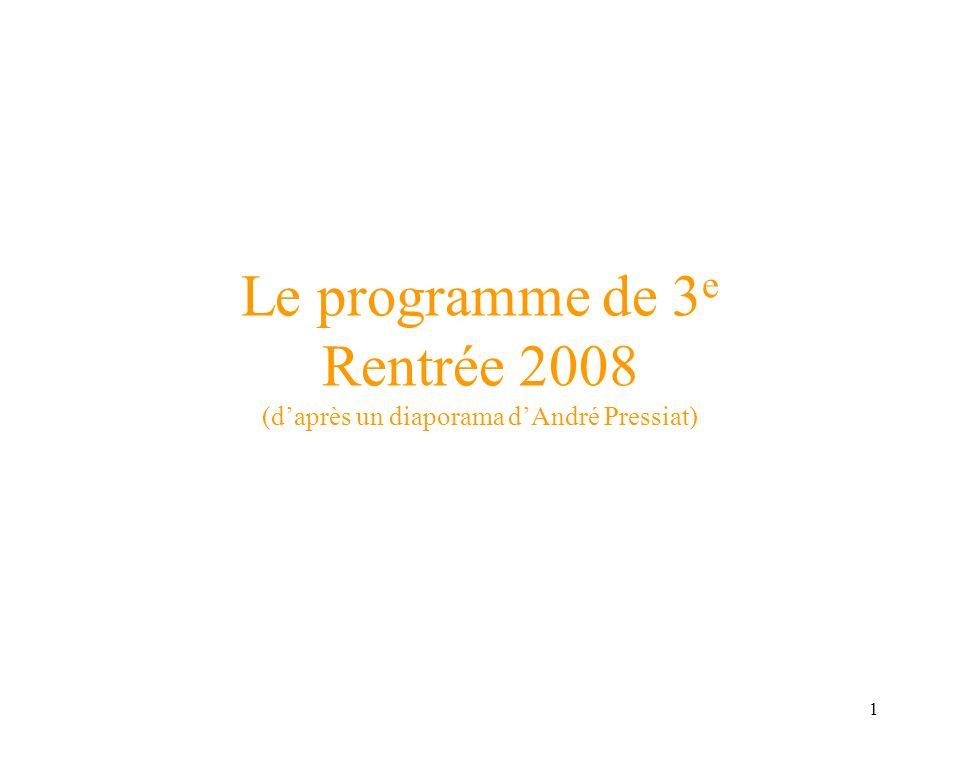 1 Le programme de 3 e Rentrée 2008 (daprès un diaporama dAndré Pressiat)