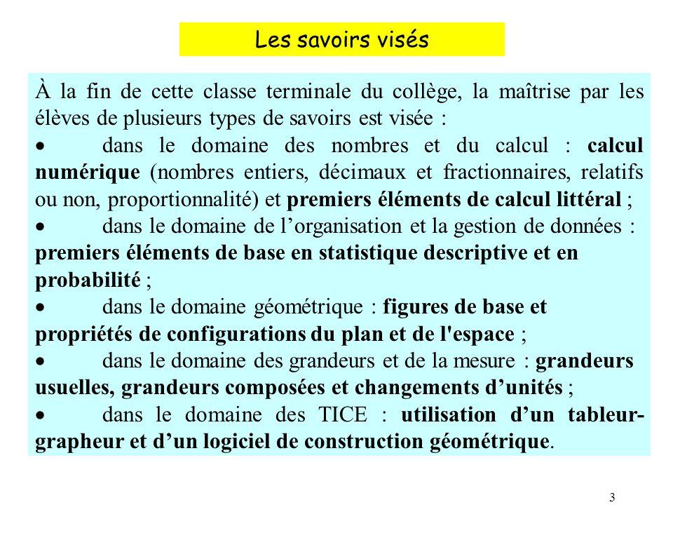 3 À la fin de cette classe terminale du collège, la maîtrise par les élèves de plusieurs types de savoirs est visée : dans le domaine des nombres et d