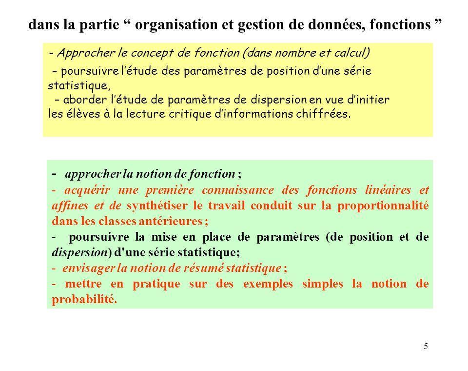 5 - Approcher le concept de fonction (dans nombre et calcul) – poursuivre létude des paramètres de position dune série statistique, – aborder létude d