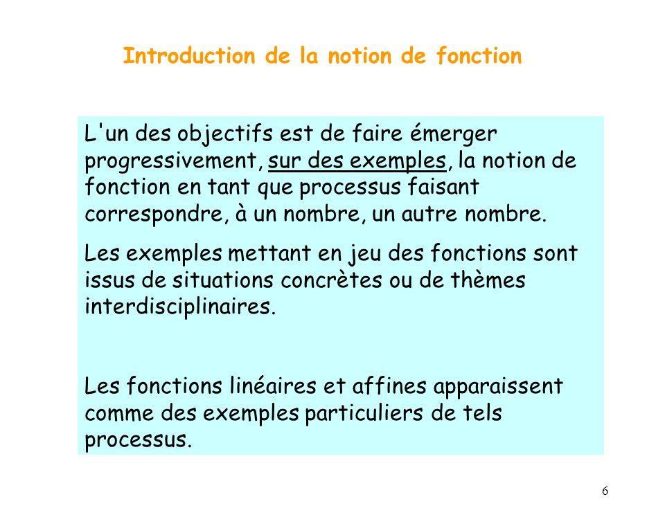 6 L'un des objectifs est de faire émerger progressivement, sur des exemples, la notion de fonction en tant que processus faisant correspondre, à un no