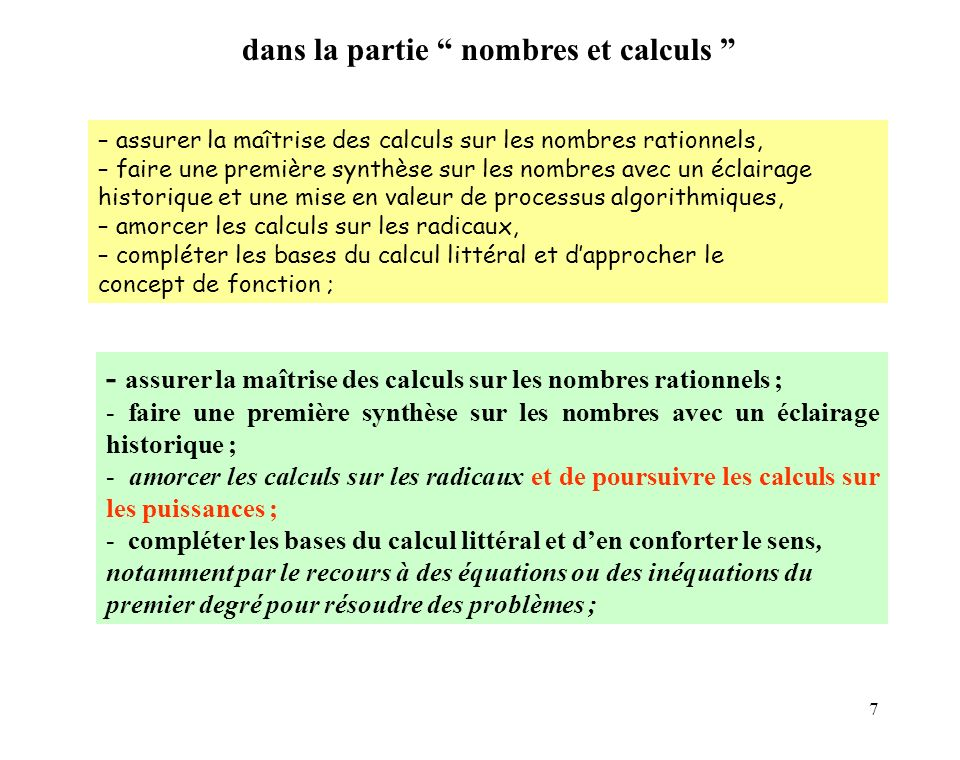 7 – assurer la maîtrise des calculs sur les nombres rationnels, – faire une première synthèse sur les nombres avec un éclairage historique et une mise